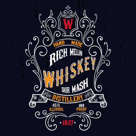 whisky bottle: Antique Whiskey Label T-shirt Illustration. Vintage typography design for tee,apparel,prints.