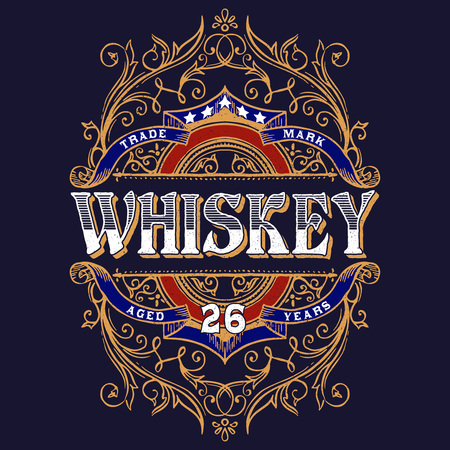 Antique Whiskey Label T-shirt Illustration. Vintage typography design for tee,apparel,prints.