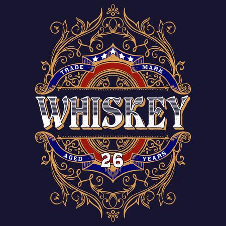 Antique Whiskey Label T-shirt Illustration. Vintage typography design for tee,apparel,prints.