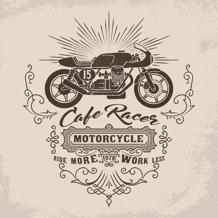 ビンテージ カフェ レーサー バイク イラスト ビクトリア朝繁栄の装飾要素を持つ。ポスター、エンブレム、バッジ、看板、t シャツのデザイン要素