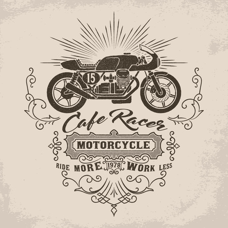 Vintage cafe racer motorcycle illustration with victorian flourish decoration element. Design element for t-shirt print, poster, emblem, badge, sign.