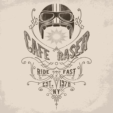 ビクトリア朝の繁栄の装飾要素を持つビンテージ バイク ヘルメットのイラスト。ポスター、エンブレム、バッジ、看板、t シャツのデザイン要素を  イラスト・ベクター素材