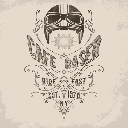 Vintage motorcycle helmet illustration with victorian flourish decoration element. Design element for t-shirt print, poster, emblem, badge, sign. Ilustração