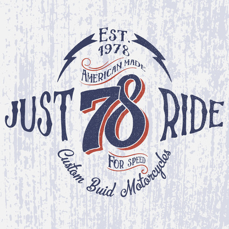 Retro motorcycle logo with inscription-Just Ride. Hand drawn. For apparel t shirt fashion design and or other.