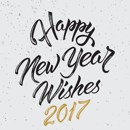 Happy New Year Wishes 2017.Calligraphy Hand drawn invitation design for greeting card. Banco de Imagens - 66257429