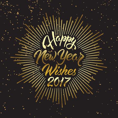 幸せな新年の願い 2017.Calligraphy の手には、グリーティング カードの招待状のデザインが描かれています。 写真素材 - 66219345