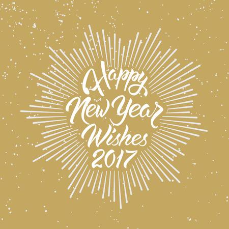 幸せな新年の願い 2017.Calligraphy の手には、グリーティング カードの招待状のデザインが描かれています。 写真素材 - 66199471