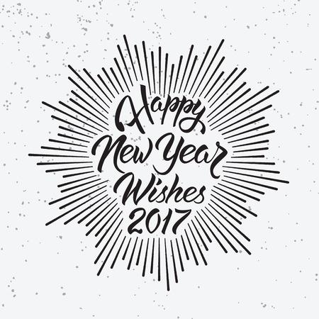 幸せな新年の願い 2017.Calligraphy の手には、グリーティング カードの招待状のデザインが描かれています。