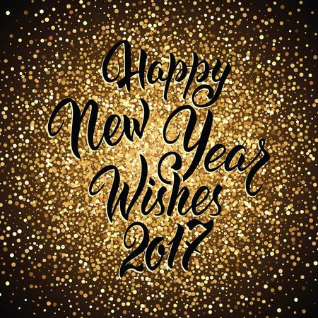 Gelukkig nieuwjaar wenst 2017.Calligrafie Hand getrokken uitnodiging ontwerp op gloeiende achtergrond ... Stock Illustratie