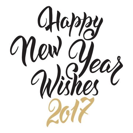 Het gelukkige Nieuwjaar wenst 2017. Hand getrokken de uitnodigingsontwerp van dealligrafiehand voor groetkaart op geïsoleerde witte achtergrond.