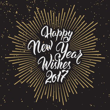 幸せな新年の願い 2017.Calligraphy の手には、グリーティング カードの招待状のデザインが描かれています。 写真素材 - 66266035
