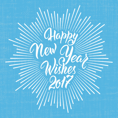 Happy New Year Wishes 2017.Calligraphy Hand drawn invitation design for greeting card.