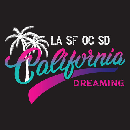 Het kalligrafische ontwerp van Californië met palmsilhouet. Stock Illustratie