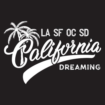 Californië opschrift met palmboom. Stock Illustratie