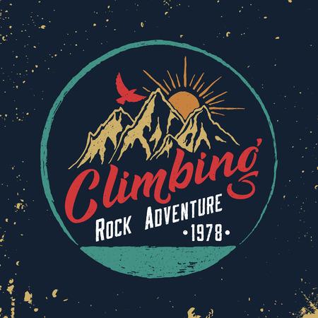 Mountain Climbing Hand Drawn Emblem. 일러스트