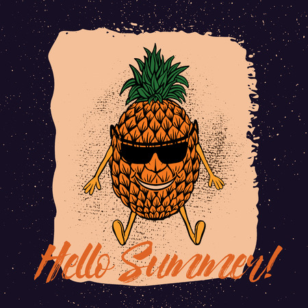 Pineapple in the beach with suglass illustration.