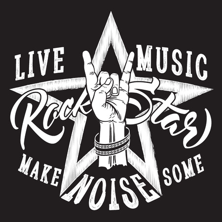 Rock and Roll hand sign with Rock Star inscription. 일러스트