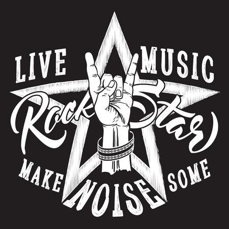 Rock and Roll hand teken met Rock Star inscriptie. Stock Illustratie