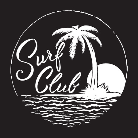 Surf Club inscription with palm tree,ocean and sun. Ilustrace