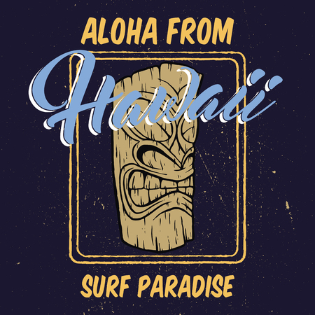 Aloha Hawaii with tiki head illustration.