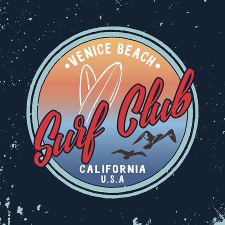 ベクトル夏サーフィン クラブのレトロなバッジ。  イラスト・ベクター素材