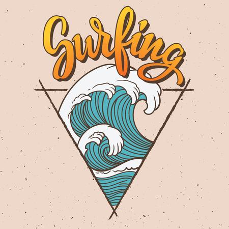 大きな波サーフィン イラスト。  イラスト・ベクター素材