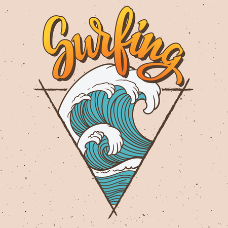 Big wave surfing illustration. Banco de Imagens - 74270222