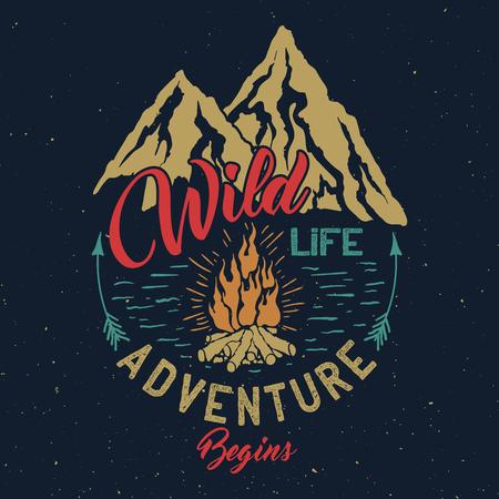 Outdoor adventure vintage emblem. 일러스트