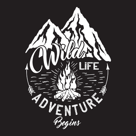 Wildlife inscription with mountains and campfire.  イラスト・ベクター素材