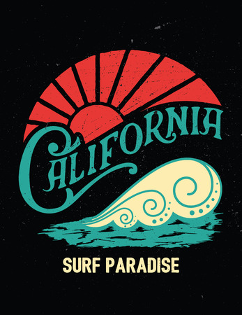 California vintage print. Surf graphic. Typography design for t-shirt,poster, flyer and other print.