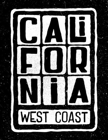 Grunge retro poster with inscription California west coast. Typography design for t-shirt,poster, flyer and other print. Ilustrace