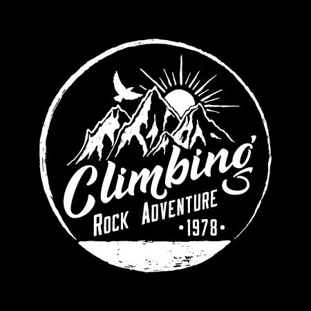 Mountain Climbing Hand Drawn Emblem. Illustration
