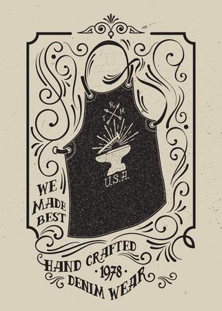 Blacksmith apron with an emblem of an anvil. 일러스트