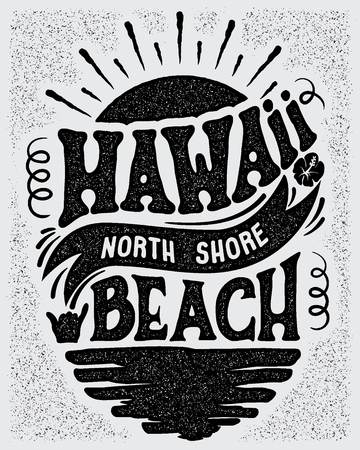 A Vector illustration designs for a banner or a logo type for  Hawaii, North Shore beach. Ilustrace