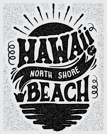 Een Vector illustratie ontwerpen voor een banner of een logo type voor Hawaii, North Shore strand.