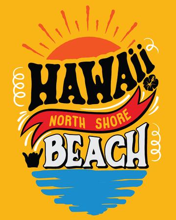 Vector illustration Hawaii, North Shore beach. 일러스트