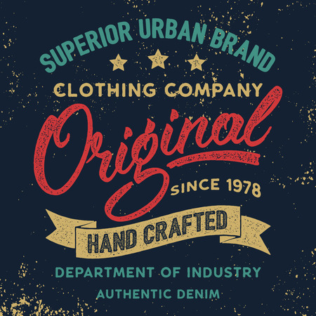 Hand written lettering label for apparel design, tee painting background, grungy. Ilustrace
