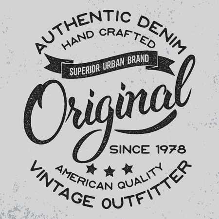 Hand written lettering label.Apparel design for tee print