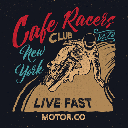 New York cafe racers club Motorcycle. Cafe racer vintage poster.