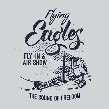 Flying Eagles air show vector illustration. Typography design aerobatic retro airplane. 일러스트