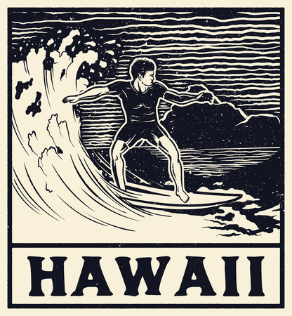 Hawaii typography for t-shirt print , vector illustration. Monochrome vintage surf print design.