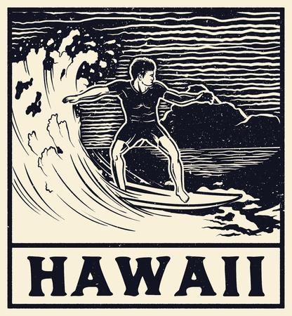 Hawaii typography for t-shirt print , vector illustration. Monochrome vintage surf print design.