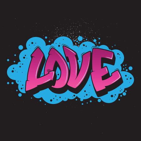Love graffiti style graphic vector urban design.  イラスト・ベクター素材