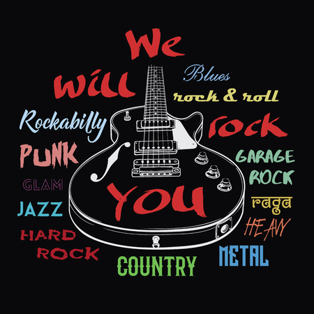 Electric guitar hand drawn illustration. We Will Rock You sign. Rock music typography, tee shirt graphic,art poster. Illustration