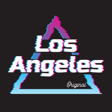 Los Angeles city glitch effect retro illustration, skyline city. Vector design for t shirt printing and embroidery.