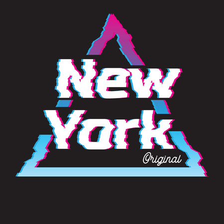 New York city glitch effect retro illustration, skyline city. Vector design for t shirt printing and embroidery. Banco de Imagens - 99670321