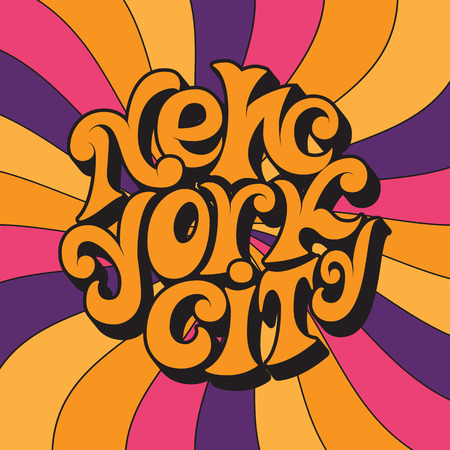 New York city.Classic psychedelic 60s and 70s lettering.Retro design on a unisex t-shirt,poster,card.