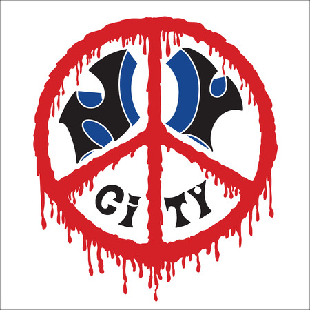 New York city art vector design. Sign of peace in the blood stains.