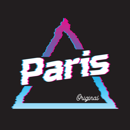 Paris city glitch effect retro illustration, France city. Vector design for t shirt printing and embroidery.