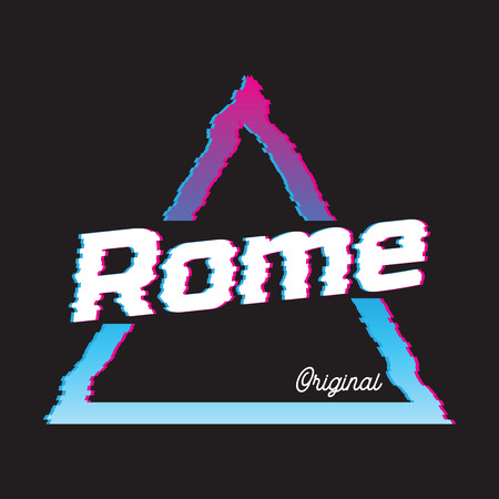 Rome city glitch effect retro illustration, skyline city. Vector design for t shirt printing and embroidery.
